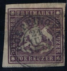 Württemberg - 1870 - coat of arms issue, 70 kreuzer purplish brown with simple separating line, Michel 42a with Irtenkauf photo attest