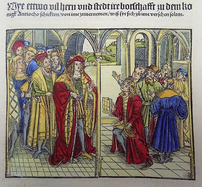 Livius Livy - rubricated incunabula woodcut leaf - Ambassadors before the King of Antioch - 1505