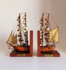 Wooden Bookends with Mayflower sailboat