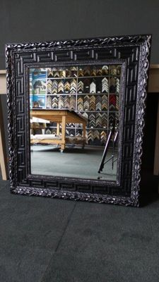 Large Mirror with Facet Glass - Black Silver - Wide Ornamental Frame