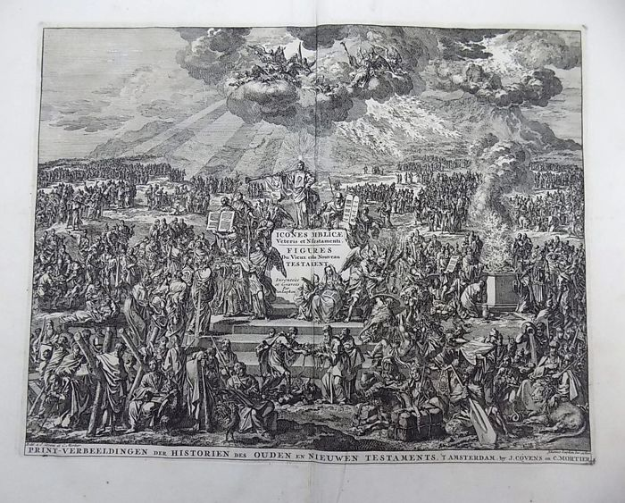 Jan Luyken (1649-1712) - Title Engraving: Mount Sinai, Angels, Virtues, Allegorical Scenes - 1729