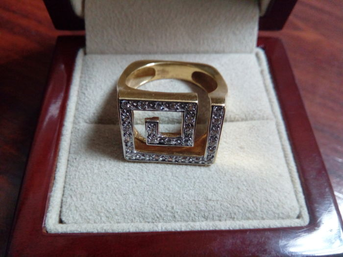 Cocktail ring - 18 kt gold - Zirconias - Size: 15