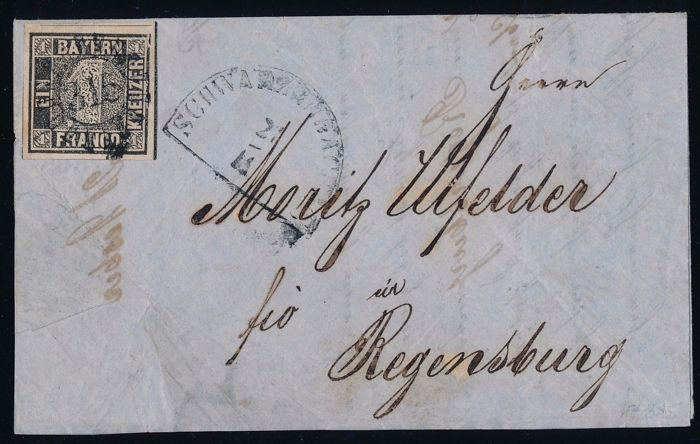 "Bayern 1849 - ""Black One"" - with plate error on cover Michel 1 Ia, grauschwarz, Fotoattest Brettl BPP"