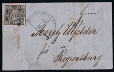 "Bavaria - 1849 - ""Black Einser"" - with flaw in plate on a letter, Michel 1 Ia plates I grey-black"
