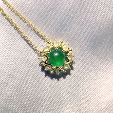 18K gold necklace with 0.564ct of emerald and 0.051ct of diamond - 38,5cm