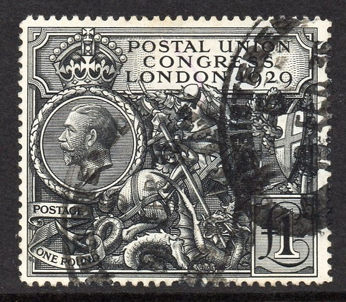 Great Britain, King George V 1929 - £1 Black PUC Fine Used Stanley Gibbons 438
