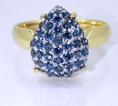 18 kt gold diamond ring with 56 fancy blue brilliant cut diamonds, 1.00 ct in total