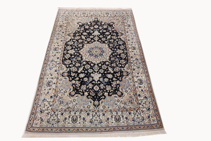 Fine Persian carpet Nain 1.90 x 1.20 hand-knotted high quality new wool with silk Orient carpet TOP CONDITION