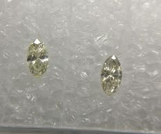 Pair of Marquise cut diamonds total 0.21 ct H-I VVS1-VS1