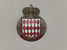"""Vintage Brass and Enamel Monaco Monte Carlo Cote D'Azur Car Auto Badge 3"""" across with factory attached crown at the top"""
