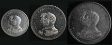 "Portugal – From the collection ""Carlos e Amélia – 4.º Centenário da Descoberta da Índia"" (Carlos and Amélia - 400th Anniversary of the Discovery of India) - 200, 500 and 1,000 Reis in SILVER – D. Carlos I – 1898 – Lisbon – AG: 10.01, 12.01 and 14.01 – UNC"
