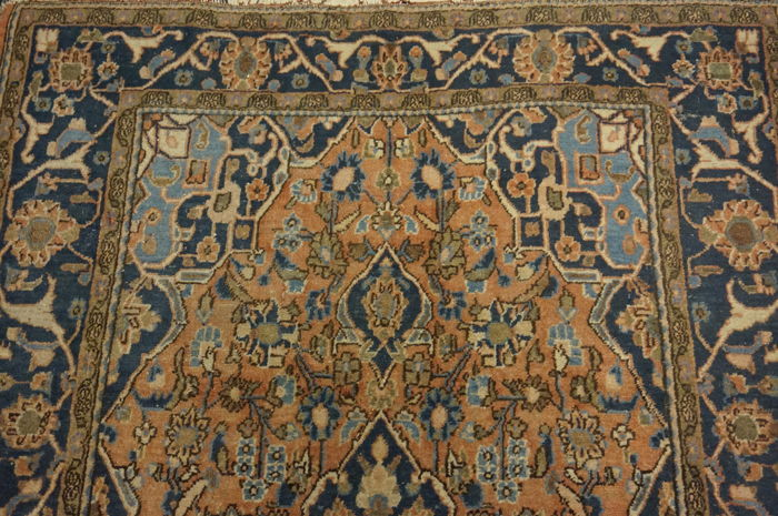 Antique finely hand-knotted Persian palace carpet, Kashan, cork, 130 × 200 cm, made in Iran