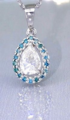 Pear-shaped diamond necklace, decorated with 19 blue diamonds, 0.50 ct in total *** no reserve price ***