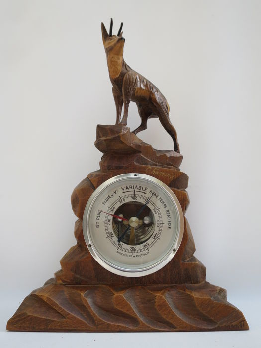 Barometer in Chamonix wood carving