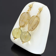 18kt/750 yellow gold earrings with citrine and smoky topaz – Length 45 mm.