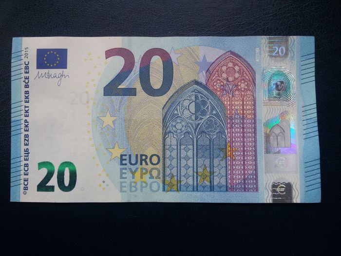 European Union - Italy - 20 Euro 2015 - Draghi - Error (White Stripe on the Obverse and Reverse)