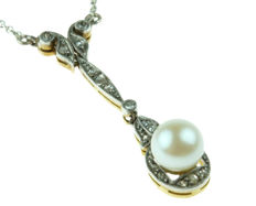 18 kt gold and platinum with silver Art Deco negligee necklace with a cultured Akoya pearl