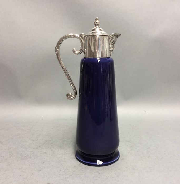 Blue decanter for red wine with silver plated mounting and Bacchus spout, so-called. claret jug, Wade Falstaff, England, ca. 1925