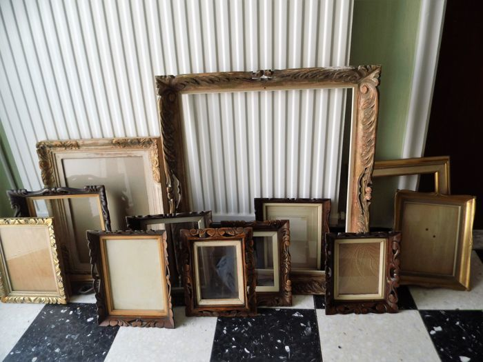 Twelve wooden picture frames - first half 20th century