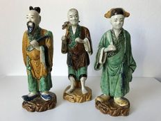 3 Shiwan Pottery Figures- China - late 19th Century