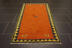 Hand-knotted carpet, Gabbeh, nomad's work, wool on wool, made in India, 80 × 140 cm