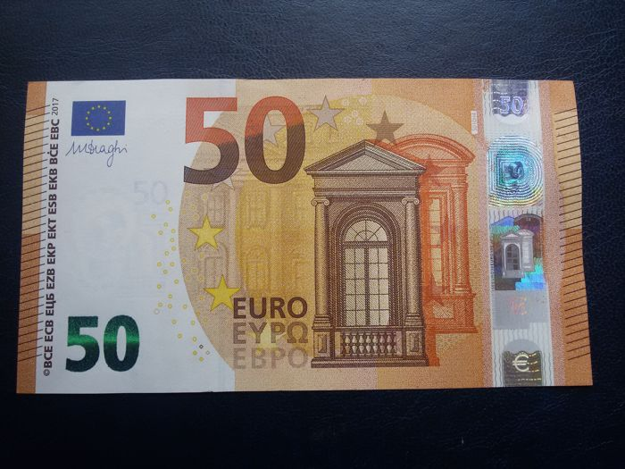 European Union - Italy - 50 Euro 2017 - Draghi - Error (White Stripe on the Obverse and Reverse)