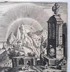 Adriaen Collaert (1560 – 1618) after design by Hendrik van Cleve III (1525 - 1590) published by Phillips Galle (1537 – March 1612) - Landscape with Ruins - end 16th or 17th century