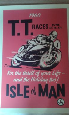 2 Nostalgic Posters - T.T. Races June 1956 and 1960 - Isle of Man