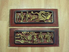 2 antique three dimensional cut panels with phoenixes - China - around 1900
