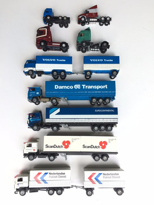 Tekno - Scale 1/50 - Lot with 4 Loose trucks and 2 trucks with trailer and 3 trucks with trailer  all Volvo