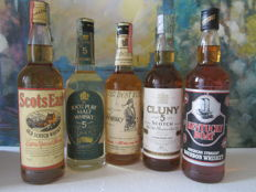 5 bottles: Our Best Kind 70 Proof 70 cl – Cluny 5 years 70 cl – Oldmoor 5 years 70 cl – Scots Earl 70 cl – Kentucky Boat 70 cl