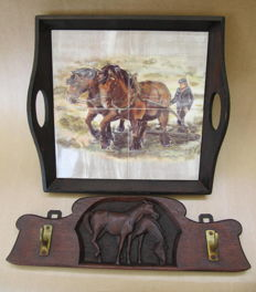 Wooden coat rack with two horses and tray with painted tile panel LS'69 - Netherlands - ca 1925 and 1969