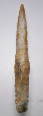 Neolithic grey patinated flint dagger - Type III A - 17.7 cm