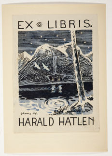 Ex-libris; Collection of 75 Scandinavian ex-libris, from the collection of Rolf Havnevik, a bookseller from Norway - c. 1940 / 1944