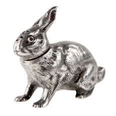 Silver hare salt shaker condiment, the Netherlands