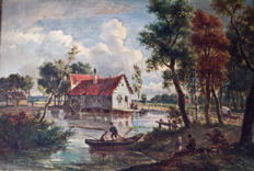 Unknown (19th Century) copy Meindert Hobbema (1638-1709) - Wassermühle im Wald