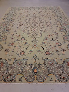 Extra large very unique and fine Pistachio Hand-woven Persian Kashan 440x330