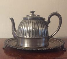 superior silver plated sheffield teapot with tray.