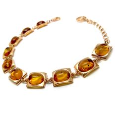 Fine bracelet with natural Baltic Amber (not pressed) in sterling silver 24K gold-plated