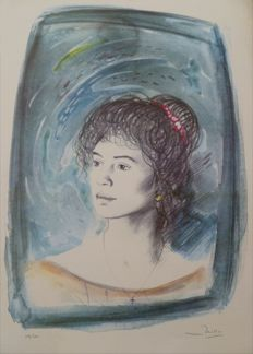 "Russo Mario (1925) ""Christine"" signed and numbered lithograph 100/250, 1989"