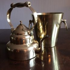 Brass kettle and wine cooler