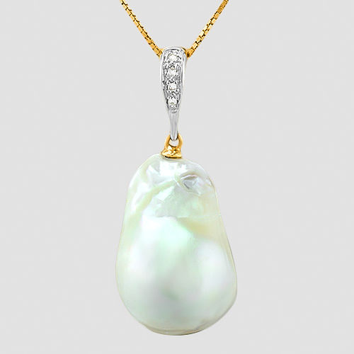 14K Pendant Set with South Sea White Pearl 21 x 15 mm and 4 round cut Diamonds of approx. 0.02 ct **no reserve price**