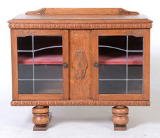Two-doors, light oak, wall furniture/tea box - the Netherlands - 20th century