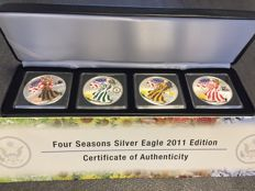 United States - 4 x $1 - 2011 - 4 seasons - 999 silver - colour edition - edition of 2000 sets