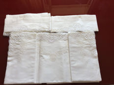 Antique linen sheet with lace and handmade embroidery