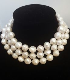 Long XL freshwater white colour pearl (12mm) necklace - Length:. 128 cm