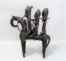 Large African bronze statue of three riders on horse back - SAO, SOKOTO - Chad