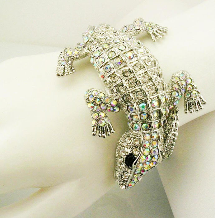 Kenneth Jay Lane alligator crystal bangle bracelet