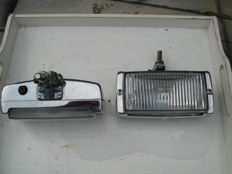 Two SPOTLIGHTS made by BOSCH with a width of 170 mm from the 1970s and 1980s