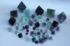 Translucent green, purple octahedron fluorite - 10 - 27mm - 404gm (61)